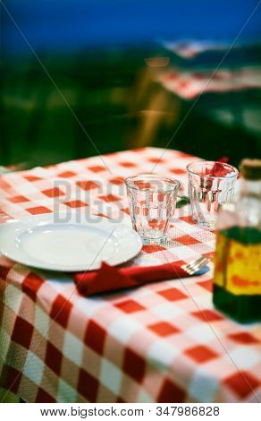 Dining Table Of A Typical Italian Trattoria.