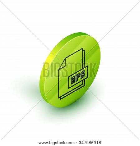 Isometric Line Eps File Document. Download Eps Button Icon Isolated On White Background. Eps File Sy