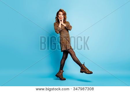 Full Body Profile Photo Of Funny Chic Lady Walking Down Street Enjoy Spring Season Discounts Shoppin