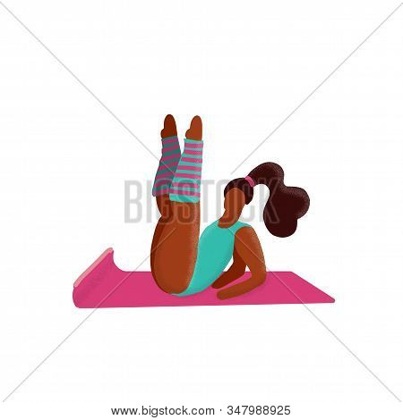 Cute Unusual Character Girl Lifted Her Legs Up. Gym Fitness Woman. Sport Figure. Healthy Aerobic Lif