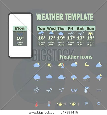 Weather Template App. Vector Template - Weekly Weather Forecast For Mobile Application. Big Collecti