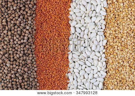 Legumes, Red Lentils, Black Lentils, Yellow Lentils Red Beans Background