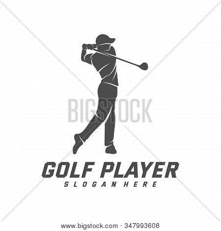 Golf Player Logo Design Vector Template, Vector Label Of Golf, Logo Of Golf Championship, Illustrati