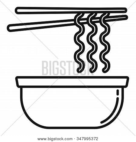 Noodle Bowl Icon. Outline Noodle Bowl Vector Icon For Web Design Isolated On White Background