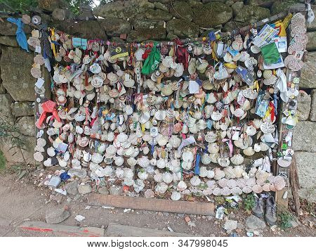 Pontevedra, Spain - September 12, 2019: Shell Wall On Camino, Shell Is The Symbol Of Pilgrims On The
