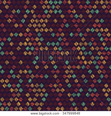 Rhombus Pattern. Scatter. Noise Backdrop. Seamless Pattern. Variety Of Rhombuses In Bright Colors. C