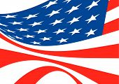 American flag bellowing in the wind in red white and blue poster