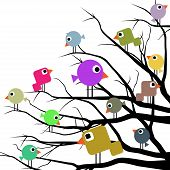 Illustration of a flock of birds in a variety of cheerful colors. poster