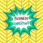 Conceptual hand writing showing Business Ownership. Business photo showcasing control or to dictate the operations and functions Asymmetrical uneven shaped pattern object multicolour design. poster