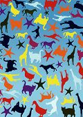 lots of coloured animals with blue background poster