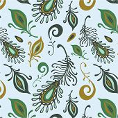 vector seamless pattern with colorful various feathers poster