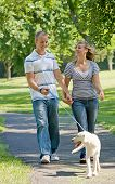 Young Couple Walking the Dog in the Park poster