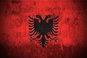 Dirty Weathered Flag Of Albania fabric textured poster