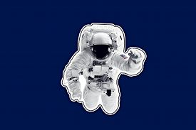 Astronaut In Space Suit Paper Sticker Over White Background. Elements Of This Image Furnished By Nas