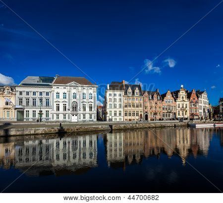 Travel Belgium medieval european city town background with canal. Koperlei street, Ghent, Belgium