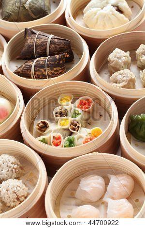 yumcha, dim sum in bamboo steamer, chinese cuisine poster
