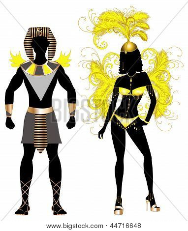 Vector Illustration Egyptian Couple for Carnival Costume Silhouettes with a man and a woman. poster