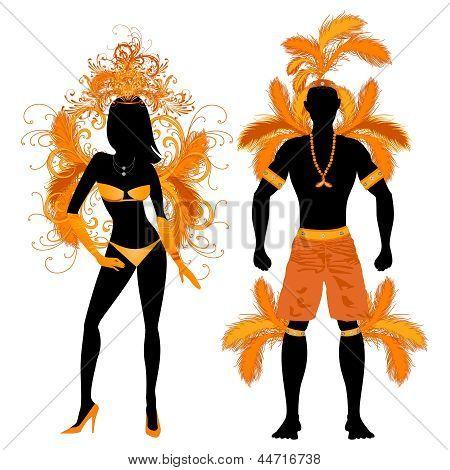 Carnival Silhouette Orange Couple
