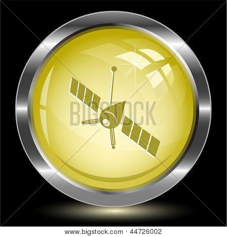 Spaceship. Internet button. Raster illustration.