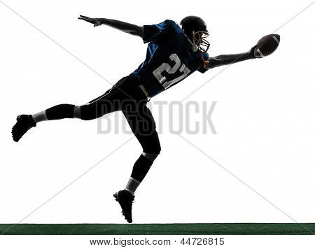 one caucasian american football player man scoring touchdown   in silhouette studio isolated on white background