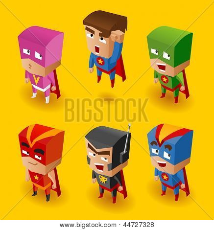 Superhero Set. Vector Illustration