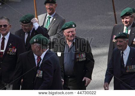 Brisbane, Australia - April 25 : Veterans Along March Route During Anzac Day Commemorations  April 2