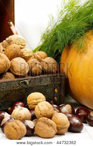 chest with walnuts, pumpkin and dill