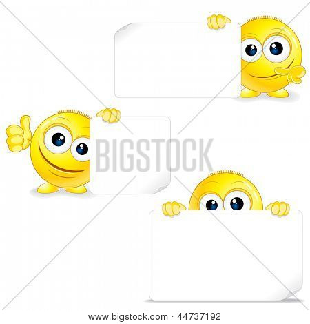 Funny Smiley with Sign and Thumb Up. Vector Clip Art.