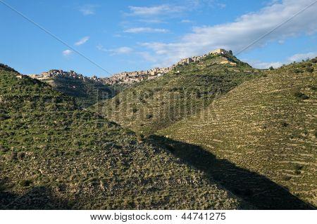 Centuripe rocky village on range mountains of sicilian hinterland