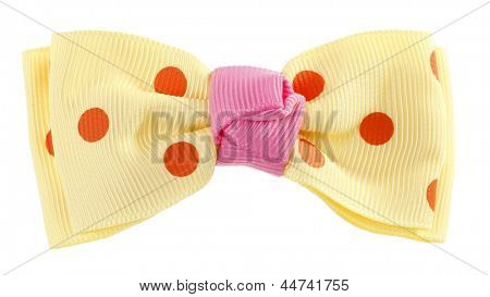 Dotted bow tie yellow with orange spots