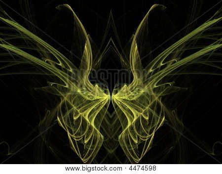 Yellow fractal butterfly wings on black background. poster