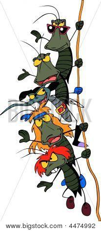 Cartoon Rock Group Of Bugs