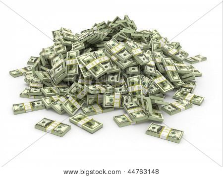 Dollars. Pile from packs of money. 3d
