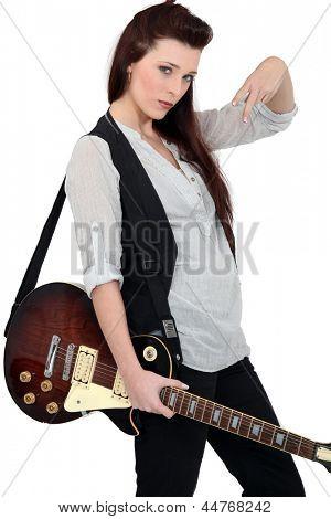 Portrait of a female guitarist