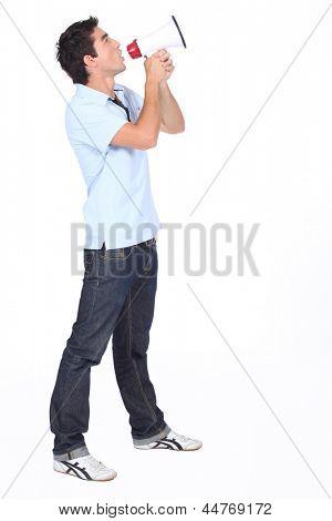 Man shouting into megaphone