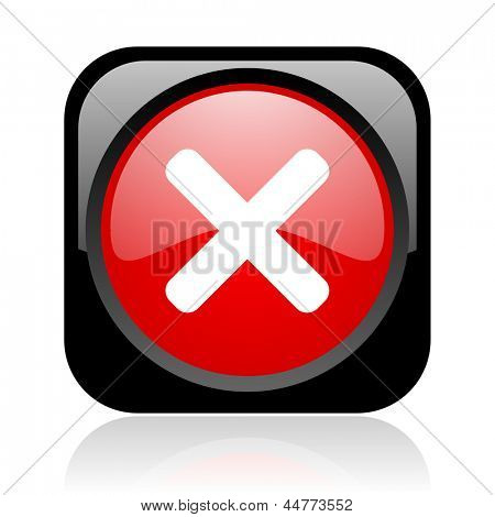 cancel black and red square web glossy icon
