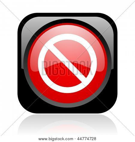 access denied black and red square web glossy icon