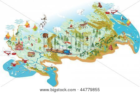 Cartoon vector map of Russia with a symbol of Moscow - St. Basil's Cathedral, a symbol of St. Petersburg - Admiralty, with variety of animals living in the area and traveling people as well.