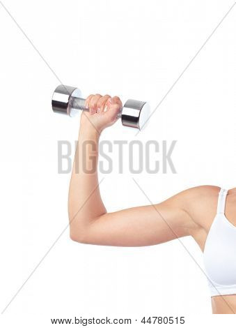 Young woman exercising with weight. Closeup of an arm with a dumbbell isolated on white background.