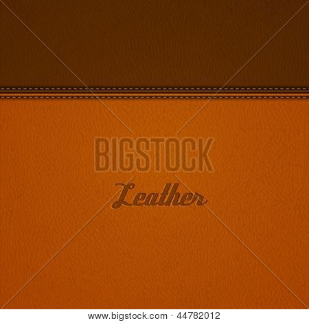 Realistic stitched leather background - eps10