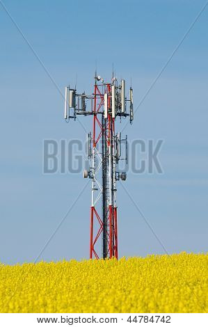 Transmitter tower on a field