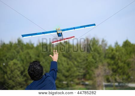 Launching radio controlled airplane