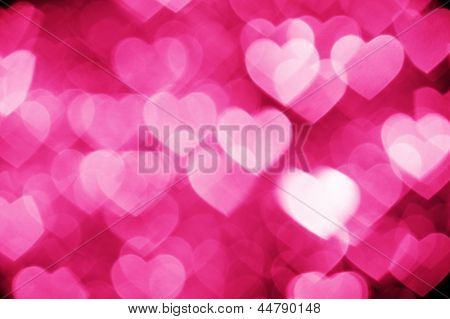 pink bokeh of hearts background
