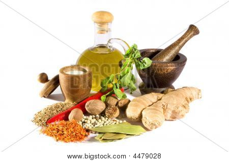 Spices, Herbs, Salt, Olive Oil And Mortar