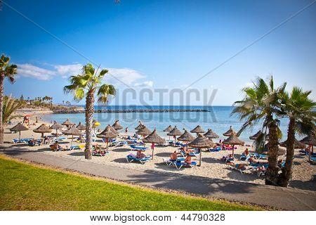 TENERIFE, SPAIN-SEPTEMBER 17:Beach Playa de la Vistas  on September 17, 2011. Tenerife,Spain. More than 5 million tourists from UK visit Tenerife every year.