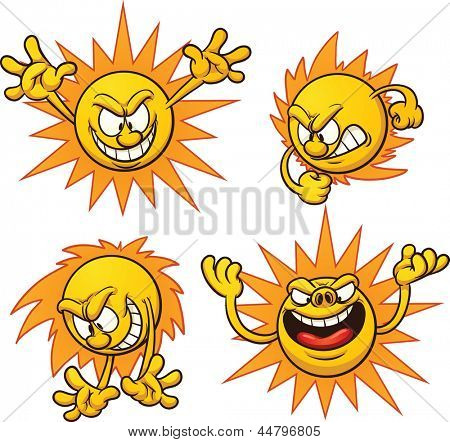 Evil cartoon sun. Vector clip art illustration with simple gradients. Each on a separate layer.