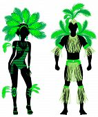 Vector Illustration Couple for Carnival Green Costume Silhouettes with a man and a woman. poster