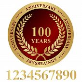 100 years anniversary stamp gold and red. poster