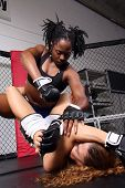 Two women sparring inside a fight cage. poster