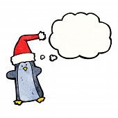 cartoon penguin with thought bubble poster
